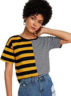 SheIn Women's Cute Colorblock Short Sleeve Crewneck Tops Striped Tee T Shirts