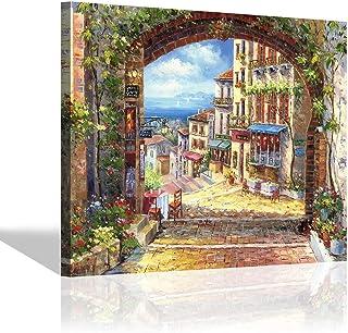 Italian Landscape Canvas Wall Art - Abstract Artwork Hand-PaintedCoastal Village Painting Art Wall Decor for Living Room (...