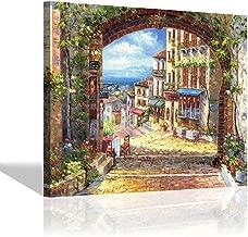 Hand-Painted Italian Canvas Wall Art - Abstract Artwork Coastal Village Painting Art Wall Decor for Living Room (24'' x 18'' x 1 Panel)