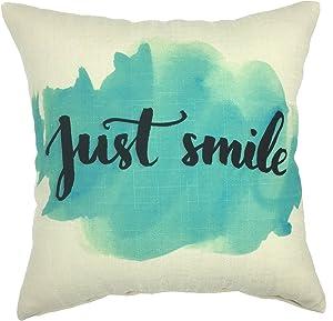 YOUR SMILE Cotton Linen Square Decorative Throw Pillow Case Cushion Cover 18x18 Inch(44CM44CM) (YS243)