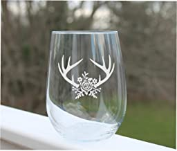 Engraved wine glass deer floral stemless wine glasses etched wedding christmas gift