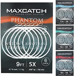M MAXIMUMCATCH Maxcatch Fly Fishing Tapered Leader Line 6 Pack -Pre-Tied Loop- Tensile Strength- Abrasion Resistance- Low ...