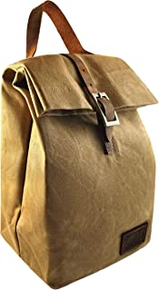 Waxed Canvas Insulated Lunch Bag (Brown) - Waterproof   Eco Friendly Stain Resistant Durable Tote Bag