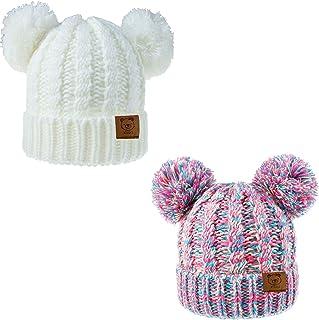 قبعات أطفال وحديثي الولادة من Urban Virgin Baby Girl Kids Beanies Cable Knit Pom Ears Winter Cap Hats للبنات 1-5 سنوات