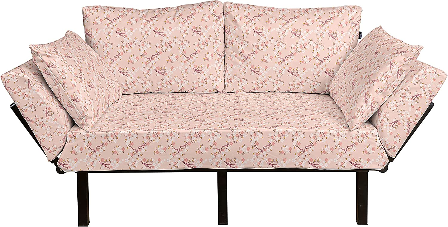 Ambesonne Selling Rapid rise rankings Cherry Blossom Futon Couch Blossoming Sakura T