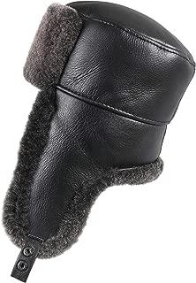 Unisex Shearling Sheepskin Trooper Russian Ushanka Winter Fur Hat