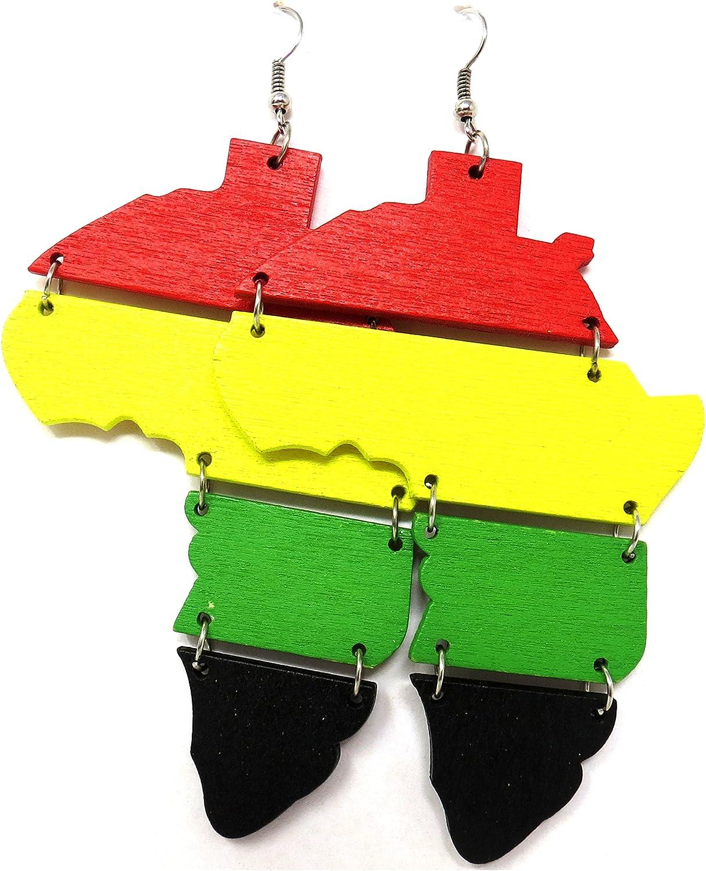 Wood Africa Rasta Earrings Reggae Earrings Jamaican Earrings Wooden Earrings-Africa Map Earrings Drop Earrings