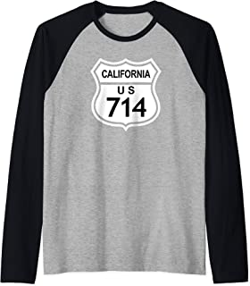 714 California Area Code, CA Highway Home State Gift Raglan Baseball Tee