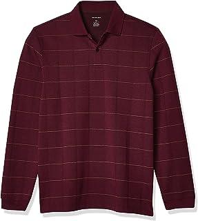 Men's Flex Long Sleeve Jaspe Windowpane Polo Shirt