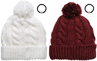 Newhattan Women's Thick Oversized Cable Knitted Fleece Lined Pom Pom Beanie Hat with Hair Tie.