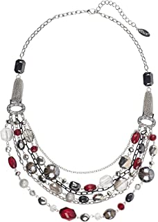 Bocar Newest Multi Layer Chain Crystal Colored Glaze Statement Women Strand Necklace