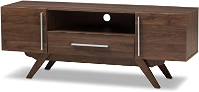 Baxton Studio Aulden Mid-Century Modern Walnut Brown Finished Wood TV Stand