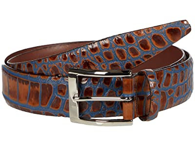 Torino Leather Co. 35 mm Italian Bicolor Croc Embossed Calf (Tan/Blue) Men