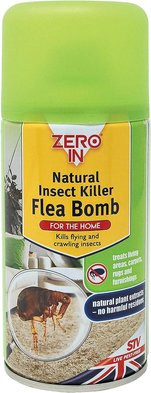 Zero In ZER027 Natural Insect Killer Flea Bomb, Poison-Free Treatment, Kills Fleas and Larvae, 150 ml, Green Single