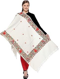 d7da5a62a3 The MadhuSudan Gallery Women's Woollen Kashmiri Embroidered Shawl/Stole  Wrap (msg_20L, Off White