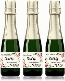 Bridal Shower BUBBLY, Bridal Brunch ● SET of 12 ● CUSTOM Bachelorette Bubbly, Boho Mini Champagne Labels, Bohemian Couples Wine Labels, Bachelorette Weekend, Hens Party, WEATHERPROOF, A400-BUBBLY