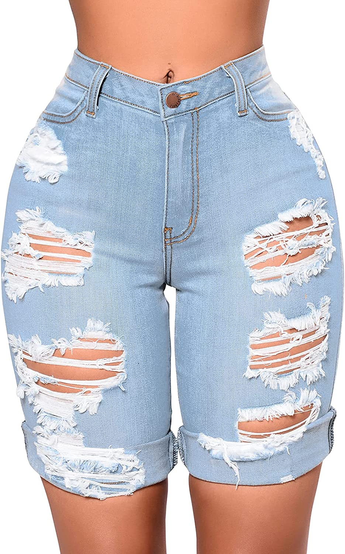 CutieLove Women's Ripped Denim Jean Shorts Destroyed Hem Mid Rise Juniors Short Jeans