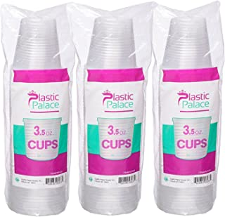 3.5-oz.Disposable Plastic Cups Small, Clear Snack & Drink Size | Party, Event, Wedding, Kids | Recyclable Drinkware | Tea, Soda, Water, Juice, Milk (1 Pack 50 Cups)