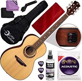 Luna Gypsy Muse Parlor Spruce Guitar with Tuner & Gig Bag + Guitar Care Kit Accessory Bundle