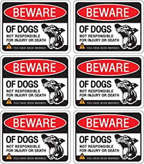 Beware of Dog Sign Stickers for Home and Business, Vinyl Decals, UV Protected & Waterproof, 4 X 3 Inch - 6 Labels