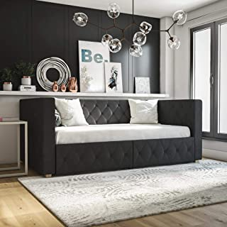 CosmoLiving by Cosmopolitan Charlotte Upholstered Daybed with Storage Drawers and Tufted Design, Grey Velvet