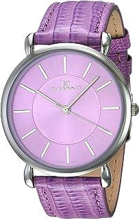 Oceanaut Women's Alma Stainless Steel Quartz Watch with Leather Strap, Purple, 19 (Model: OC2213)