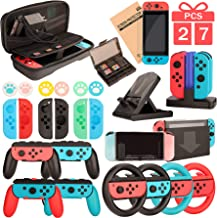 Switch Accessories - Family Bundle Accessories for Nintendo Switch, Carry Case& Screen Protector,4 Pack Joy Con Grips and ...