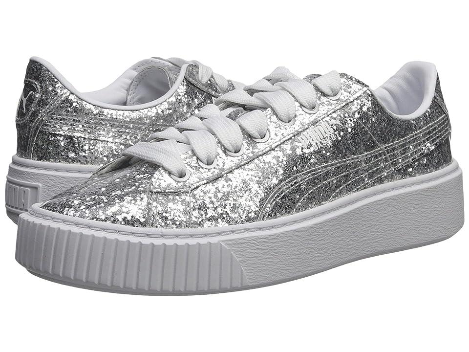 PUMA Basket Platform Glitter (Silver/Silver) Women