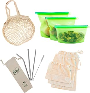 The Zero Waste Box - Eco Friendly and Sustainable Essentials - Eco Gift Box Starter Kit - Reusable Storage Silicone Bags S...