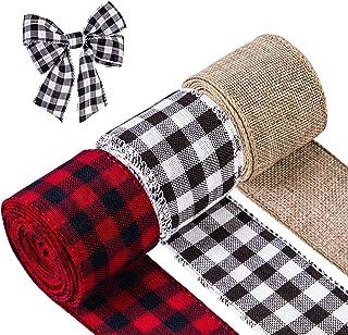3 Rolls Christmas Ribbon Wired Edge Burlap Ribbon Buffalo Plaid Black and White Ribbon Fabric Black Red Plaid Ribbons for ...