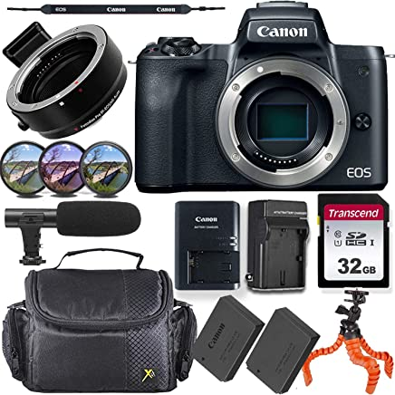 $629 Get Canon EOS M50 Mirrorless Body Only Camera (Black) + M-Adapter & Exclusive Video-Accessory Bundle