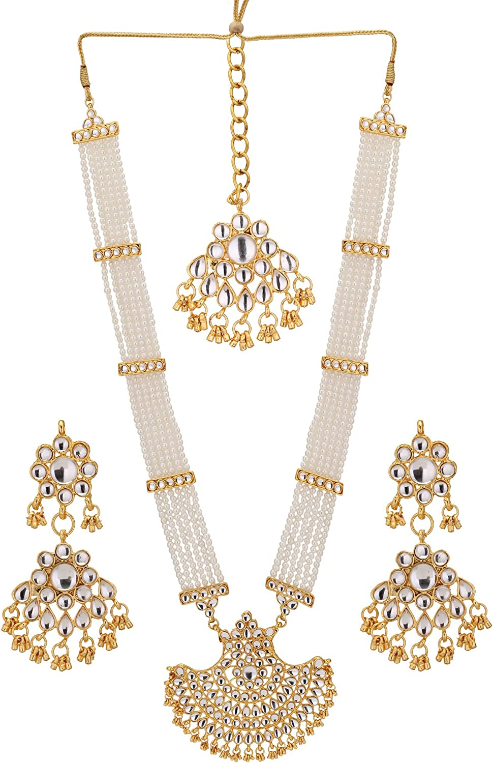 Jwellmart Indian Diva Collection Pearl Rani Haar Necklace Set in Kundan Stones for Women and Girls