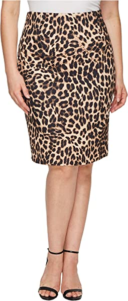 Plus Size Back Zip Exotic Animal Pencil Skirt