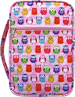 Keelie-Pink Owl Bible Cover for Women Book Cover for Girls Scripture Tote Bible Case with Handle Fits for Standard Size Bible