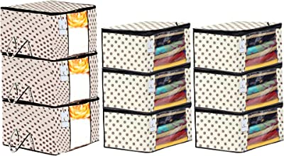 Kuber Industries Polka Dots Printed Non Woven 6 Pieces Saree Cover and 3 Pieces Underbed Storage Bag, Cloth Organizer for Storage, Blanket Cover Combo Set (Ivory) -CTKTC038652