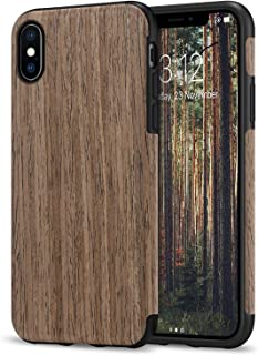 TENDLIN Compatible with iPhone Xs Case/iPhone X Case with Wood Grain Outside Soft TPU Silicone Hybrid Slim Case Compatible...