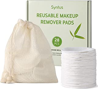 Syntus Reusable Makeup Remover Pads, 28 Pcs Natural Bamboo Cotton Rounds Remover Wipes with Laundry Bag