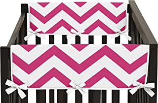 Sweet Jojo Designs Hot Pink and White Chevron Zigzag Teething Protector Cover Wrap Baby Crib Side Rail Guards - Set of 2