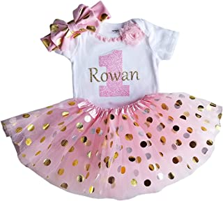 1st Birthday Girl Pink and Gold Personalized Tutu Set