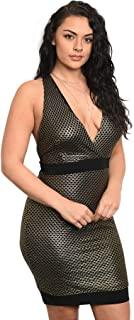 Imaginary Diva Women's Plus Size Sexy Black Gold Plunge Neckline Open Back Fitted Party Dress