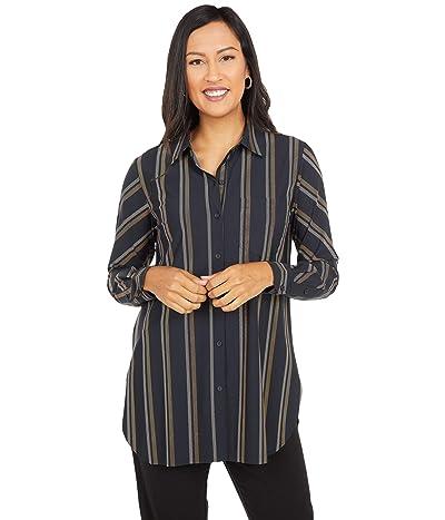 Lysse Fashion Schiffer Stretch Microfiber Button-Down Top (Twill Stripe) Women