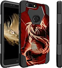 Untouchble Case for ZTE Blade Z MAX Case, ZTE Zmax Pro 2 (2017), Blade ZMAX Case, Z982 Case [Traveler Series] Combat Shockproof Two Layer Kickstand Cover - Red Dragon