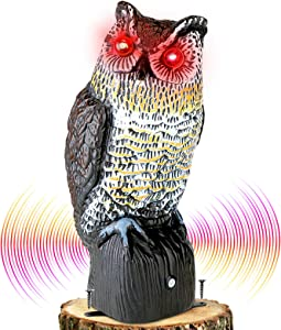 Plastic Owl to Keep Birds Away,Owl Scarecrows with Flashing Eyes&Frightening Sound,Owl for Bird Control for Garden Yard Outdoor