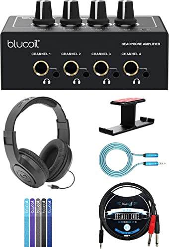 popular Blucoil outlet sale 4-Channel Headphone Amplifier Bundle with 12V Power Adapter, Samson SR350 Headphones, Aluminum Headphone Hook, 5' TRS to TS Stereo Breakout Cable, discount 6' 3.5mm Extension Cable, and 5X Cable Ties outlet online sale