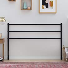 Linenspa ModernMetalHeadboard-All Steel Construction-Horizontal Bar Design Adjustable, Full, Black