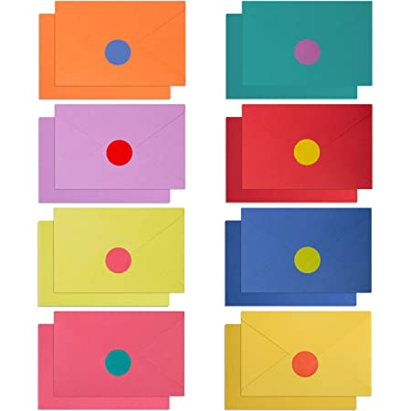 """120 Blank Cards with Envelopes & Stickers   4"""" x 6"""" Bulk Boxed Set of all Occasions Colored Notecards   Rainbow Assortment of Plain Color Cardstock Ideal for Card Making and Kids Stationary Set"""