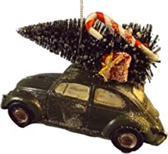 Retro Green VW Bug with Christmas Tree, Candy Cane and Presents on Roof Christmas Tree Ornament