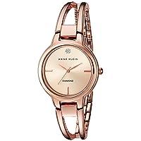 Anne Klein Womens Diamond-Accented Dial Open Bangle Watch Deals