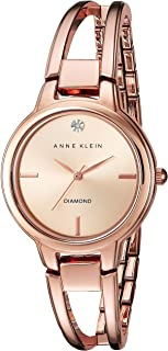Women's AK/2626RGRG Diamond-Accented Dial Rose Gold-Tone Open Bangle Watch