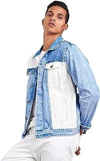 جاكيت جينز بازرار للاغلاق ومربعات بالوان مختلفة للرجال